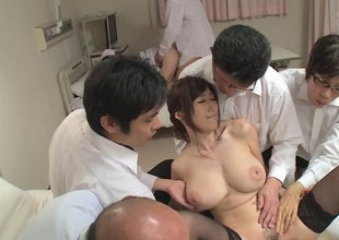 Salacious Julia gets her big juicy boobs squeezed and fucked in an orgasmic group sex