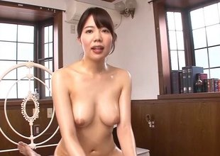 Oriental bitch in red fishnet bodystockings gets drilled hardcore