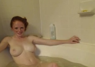 Jaw-dropping homemade solo with my redhead honey taking a bath
