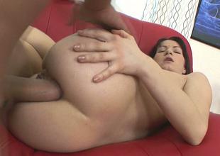 Desirable brunette hottie Lina Miles enjoys great ass fucking