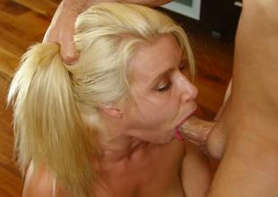 Dissolute blonde chick Anikka Albrite sucks palatable hard dick