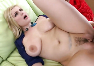 Blond slut with big tits fucked