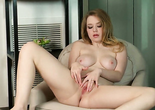 Alaina Fox with biggest boobs and hairless bush spends her sexual energy alone using vibrator