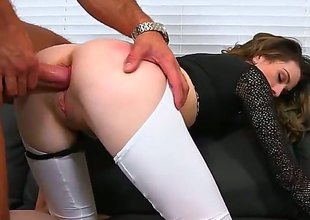 Skinny MILF in black top and bottomless white leggings implores for anal after cock sucking, She gives hot oral-service and then gets her butt drilled from behind. Nice clothed sex with easy lady!