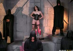 Mandy Muse is here to be used for a cults secret sexual ritual. her ass is to receive an anal gangbang. This babe enters the dungeon with her ass and tits exposed