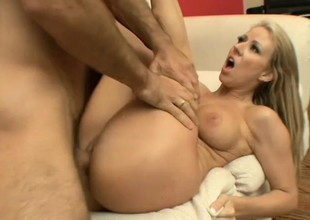 Stacked golden-haired milf Carolyn Reese has a fiery muff longing for action