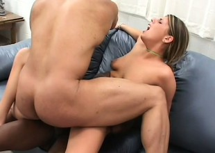 Adorable girl with large cock-sucking experienced Lindsay Layne pleasures studs
