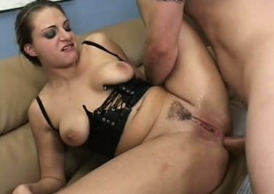 Nasty slut blows and gets her ass licked in advance of this babe gets it up the butt