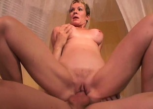 Short haired MILF Julie Mandrews is desirous to please a big pole