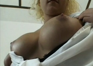 The boss orders his busty secretary to pleasure herself as he watches