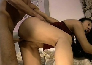 Asian cutie with a lovely ass and nice scoops gets nailed by a white guy