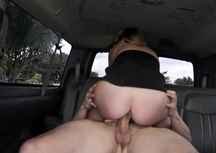 Slut from the street gets in the van to ride his huge dick