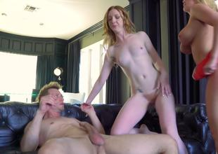 Blond Brooklyn Chase and a slutty girl share his dick