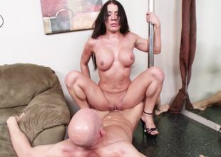 Slut with a stripper pole in her house loves athletic fucking