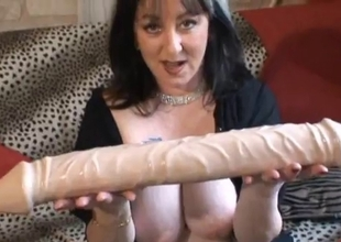 Wild aged French brunette plays with huge sex toy
