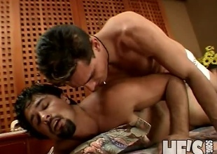 Oh boy...is there anything hotter then watching two hairy Latin boys taking each others hard cocks in each others mouths? There definitely is, and that would be watching those two thick cocked boys stuffing each others tight little asses! Marcelo and Maur