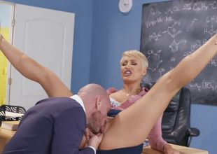 Miss Ryan is the sluttiest teacher in school and likes large cock