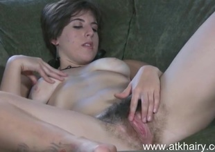 Beautiful and sexy amateur Beryl fucks her unshaved bush