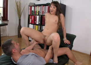 Titless brunette office slut gets her hungry asshole lastly banged