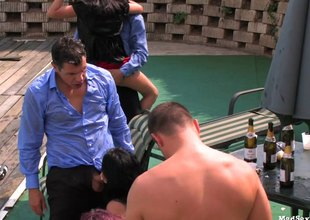 Nifty party by the pool turns into a saucy groupsex action