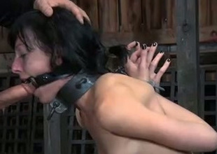 Filthy dark brown with pierced pussy gets face fucked by her dom