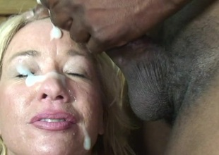 This golden-haired aged slut just can't live without black cocks