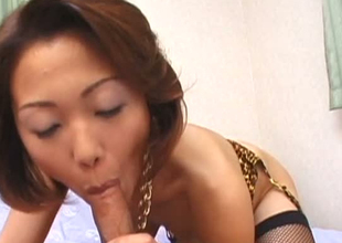 Elegant Japanese mommy giving awesome oral pleasure in POV sex clip