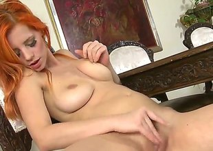 With huge jugs and smooth beaver spends time masturbating