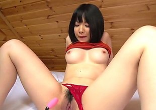 Hot brunette asian, Airi is having an extremely sensual solo with her pink vibrator. That babe shoves that damn thing far up her bushy tunnel of love and fingers herself for maximum pleasure
