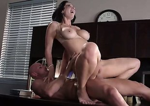 Johnny Sins sticks his hard dick in Jayden Jaymess wet cookie eagerly. This large titted sexy brunette is his hawt boss. He does his best to bring her to the edge of nirvana.