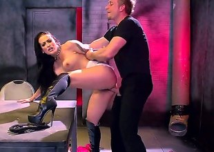 Katrina Jade is a real bad girl with black hair and hot tattoos wearing black boots and a chain around her neck. And she just likes coarse sex while drilled in her cunt.