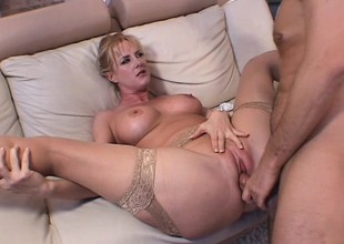A golden-haired milf with a ideal rack feels a hard cock deep in her ass