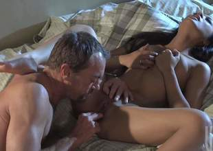 Kaylani Lei is a black haired Oriental babe and that babe simply adores pussy fingering. Shes gonna award her man for that by riding his large and strong mega sized jimmy