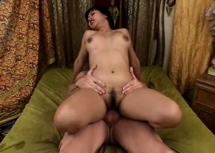 Leggy brunette babe with a valuable bush gets her tight cunt slammed