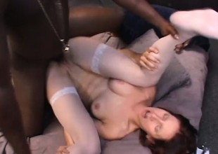 Maggie Star gets her anal hole roughly drilled by a massive black cock