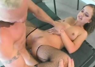 Fabulous whore in black nylons Luissa Rosso slips on Brett Rockman's cleaver