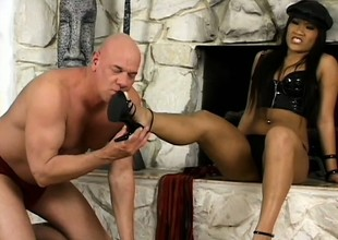 Oriental mistress Christina Aguchi dominates butch man Rod Fontana