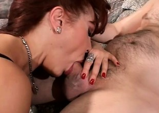Breasty redhead mom seduces her son's ally and has him fucking her twat