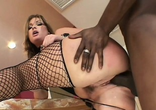 Wild hottie in sexy underware Flower Tucci takes a black stick up her wazoo