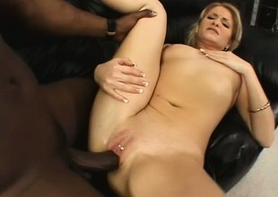 Dazzling golden-haired fully enjoys her first encounter with a large black dick