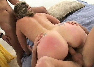 Wild blonde milf with large milk shakes Autumn wants to fuck two cocks at one time