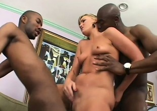 Sensual blonde with merry love muffins has two black studs hammering her holes