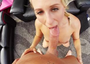 A sexy amateur with a sexy body gets on her knees to engulf a dick