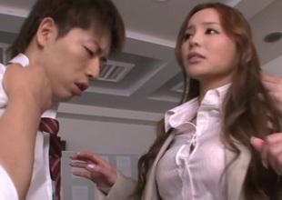 Barefaced Japanese teacher Emiri Okazaki has sex with guys