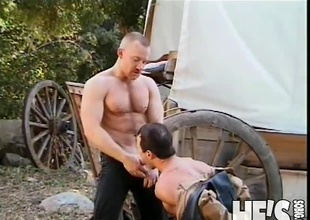It's been a lengthy day at the Dude Ranch and these two Cowboys are ready to take a little time off. Fortunately, what they actually end up doing is taking a little time on...each others big cocks! Watch as these Cowboys fuck and engulf their way to two creamy
