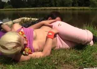 Legal age teenager Cathy gets fucked and jizzed outdoors