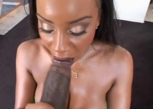 Sandi Jackman and Lexington Steele are chilling out back at the crib playing pool when Sandi notices the hard on in Lex's pants. She couldn't resist whipping it out and giving it a good engulfing on before taking it deep inside her love tunnel. She gets fuc