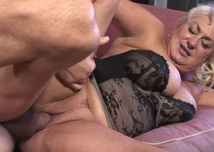 Lusty plump granny fucked by a fit fellow with tons of energy