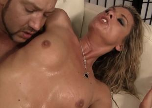 Curly golden-haired that is really horny is getting her pussy permeated