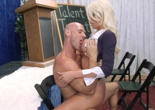 Golden-haired that has large breasts is removing her uniform for her teacher